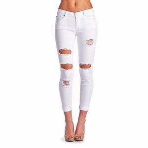 Denim - White Denim Distressed  Ripped  Skinny  Jeans